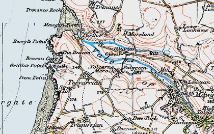 Old map of Tolcarne Merock in 1919