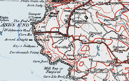 Old map of Zawn Kellys in 1919