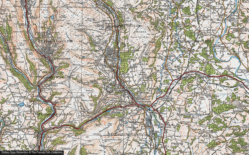 Old Map of Historic Map covering Lasgarn in 1919