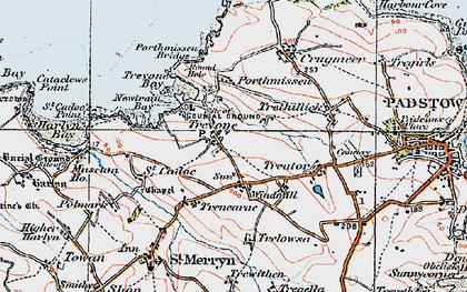Old map of Trevone in 1919