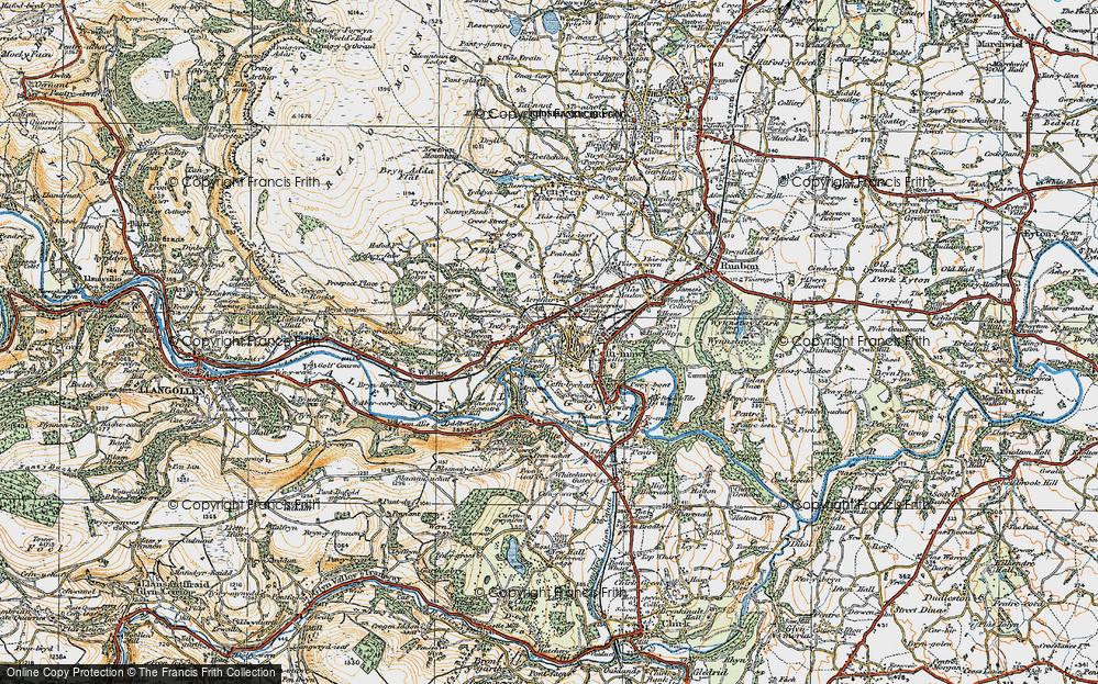 Old Map of Trevor, 1921 in 1921