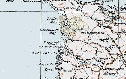 Old map of Treyarnon Bay in 1919