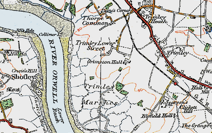Old map of Trimley Lower Street in 1921