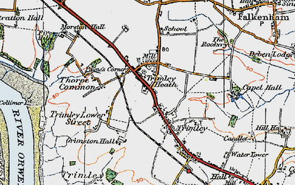 Old map of Trimley St Martin in 1921