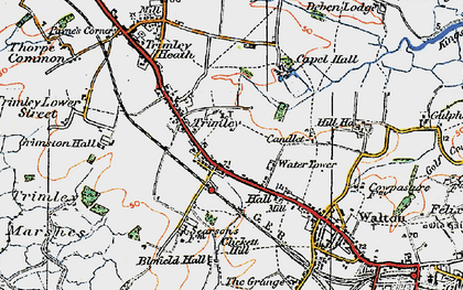 Old map of Trimley St Mary in 1921