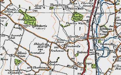 Old map of Trims Green in 1919