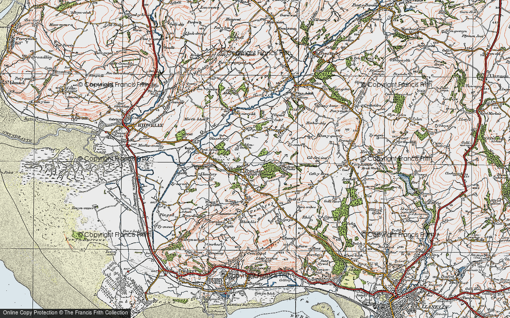 Old Map of Historic Map covering Afon Morlais in 1923