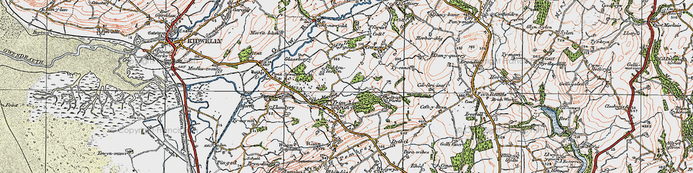 Old map of Afon Morlais in 1923
