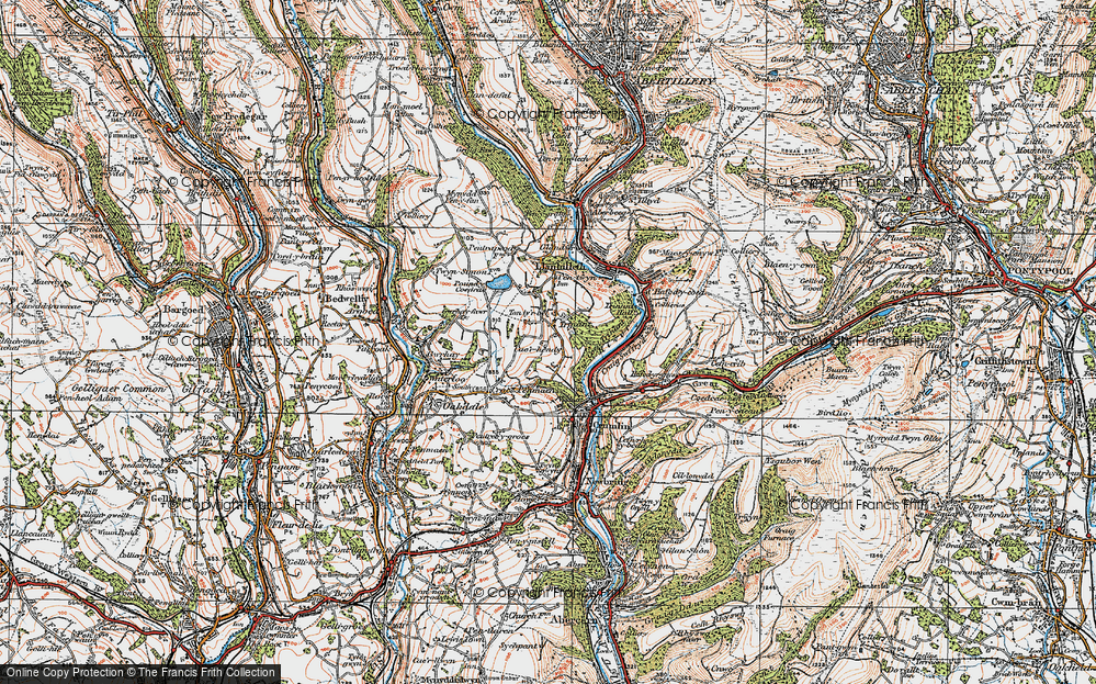 Old Map of Historic Map covering Ton-ty'r-bel in 1919