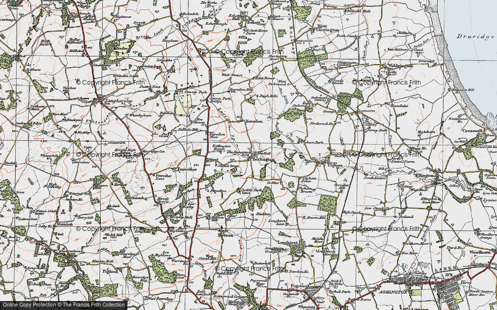 Old Map of Historic Map covering Bailiff's Letch in 1925