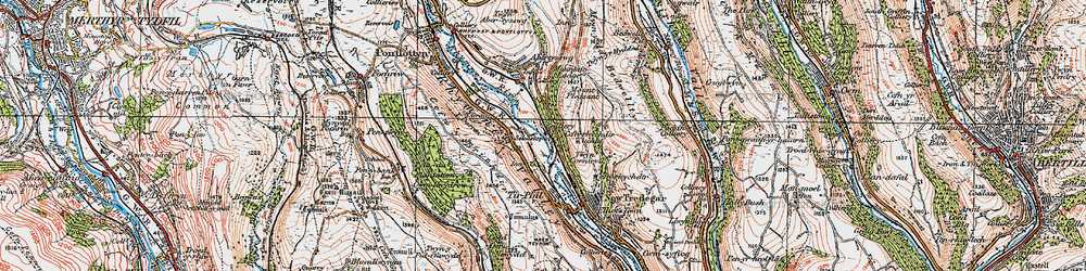 Old map of Y Darren in 1919