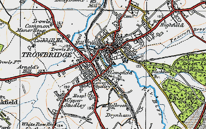 Old map of Trowbridge in 1919