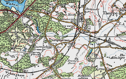 Old map of Trumps Green in 1920