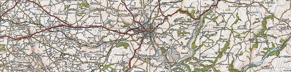 Old map of Truro in 1919