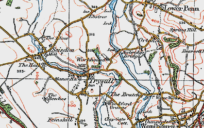 Old map of Awbridge Br in 1921