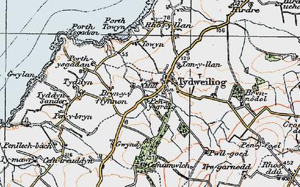 Old map of Tudweiliog in 1922