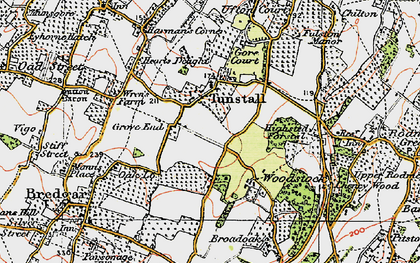Old map of Tunstall in 1921