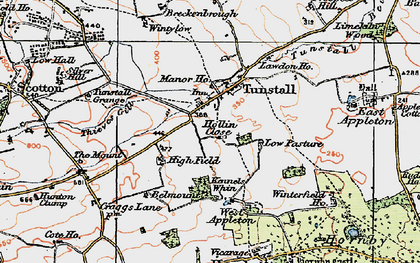 Old map of Tunstall in 1925