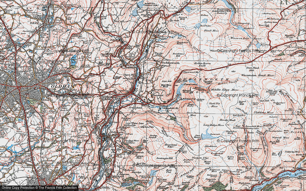 Old Map of Historic Map covering Ashway Gap in 1924