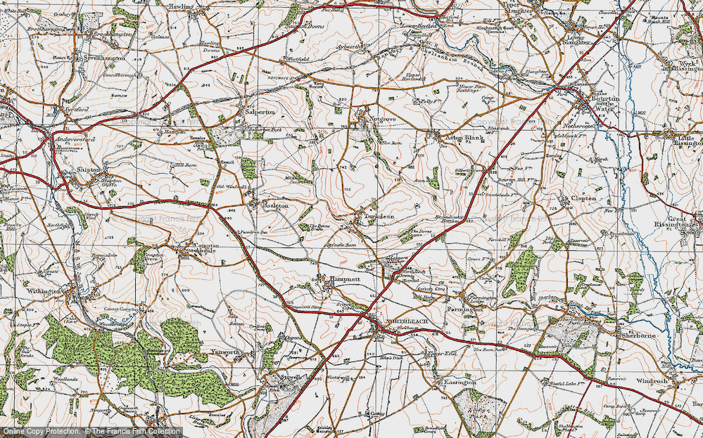 Old Map of Historic Map covering Leygore Manor in 1919