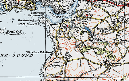 Old map of Turnchapel in 1919