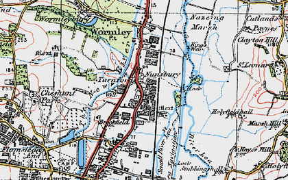Old map of Turnford in 1920