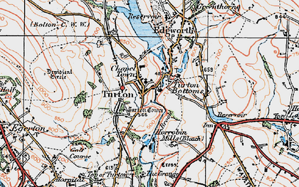 Old map of Turton Bottoms in 1924