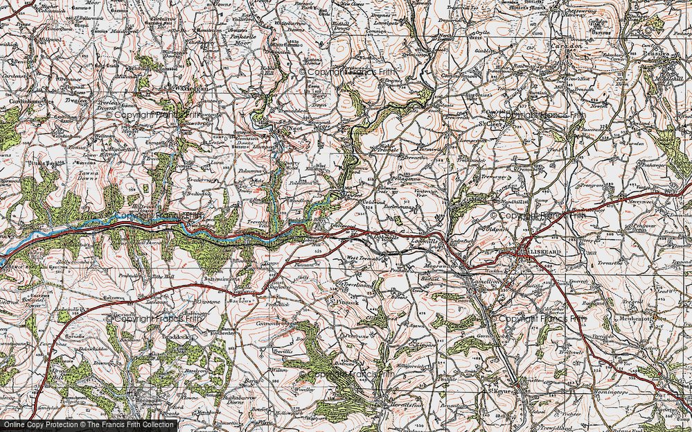 Old Map of Historic Map covering Ashford Br in 1919