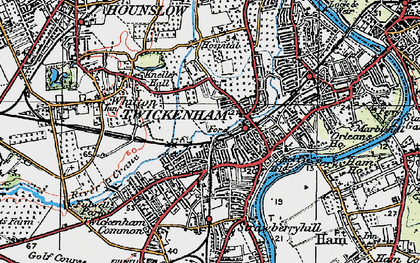 Old map of Twickenham in 1920