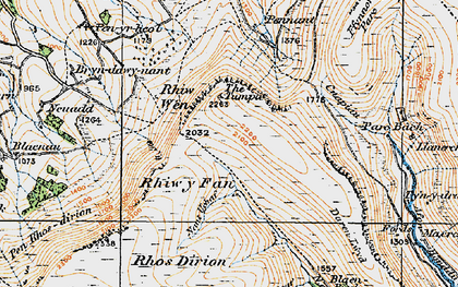Old map of Afon Honddu in 1919