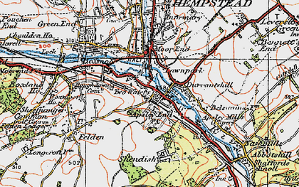 Old map of Two Waters in 1920