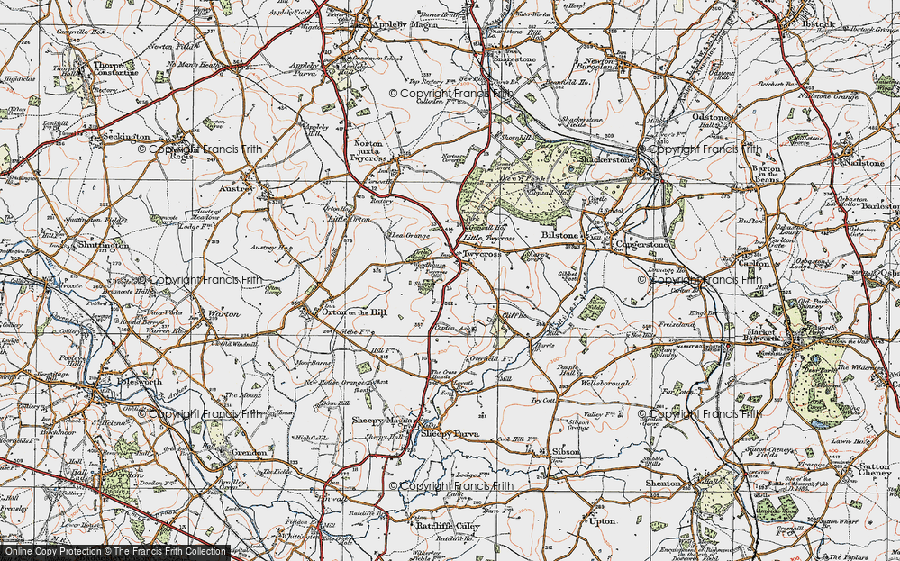 Old Map of Twycross, 1921 in 1921