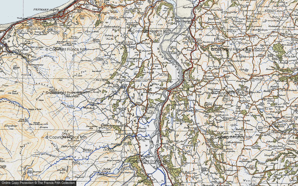 Old Map of Historic Map covering Afon Roe in 1922