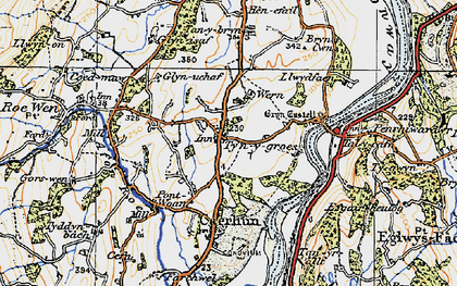 Old map of Afon Roe in 1922