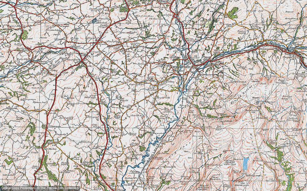 Old Map of Tycroes, 1923 in 1923