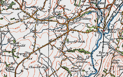 Old map of Tycroes in 1923