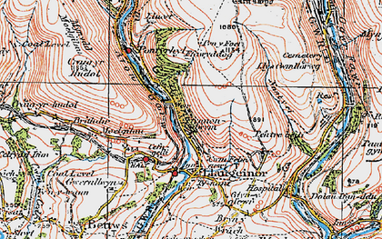 Old map of Afon Garw in 1922
