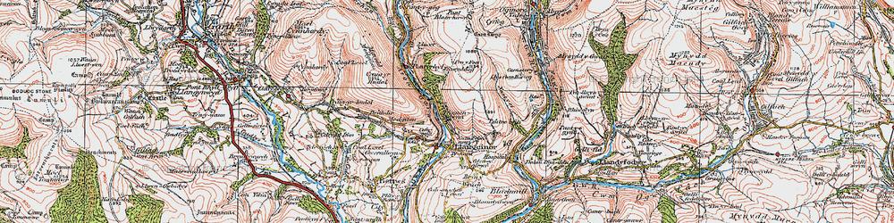 Old map of Afon Garw in 1922