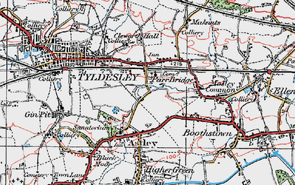 Old map of Tyldesley in 1924