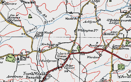 Old map of Ashlyns in 1920
