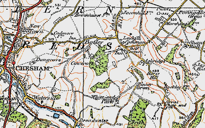 Old map of Tyler's Hill in 1920
