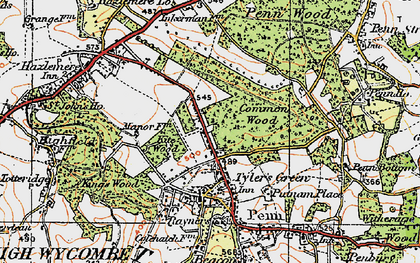 Old map of Tylers Green in 1919