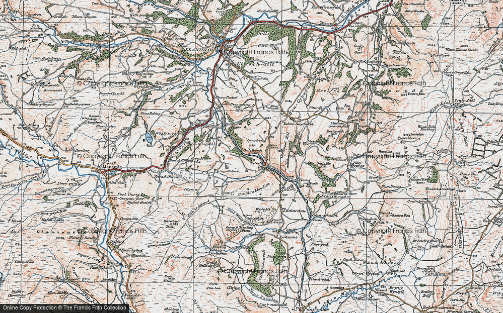 Old Map of Historic Map covering Banhadlog Hall in 1922