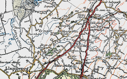 Old map of Afon Carrog in 1922