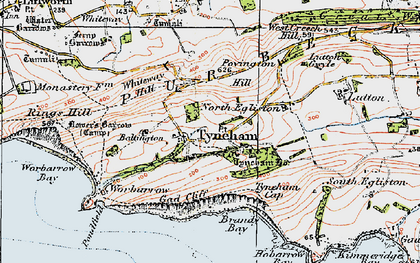 Old map of Tyneham in 1919