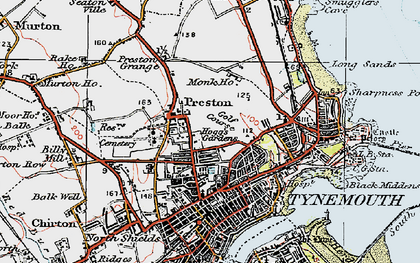 Old map of Tynemouth in 1925