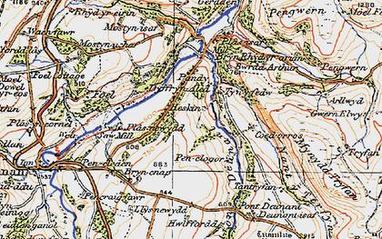 Old map of Afon Deunant in 1922