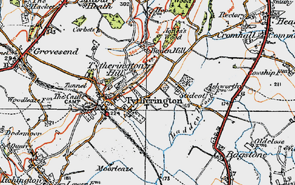 Old map of Baden Hill in 1919