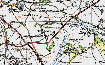 Old map of Tyttenhanger in 1920