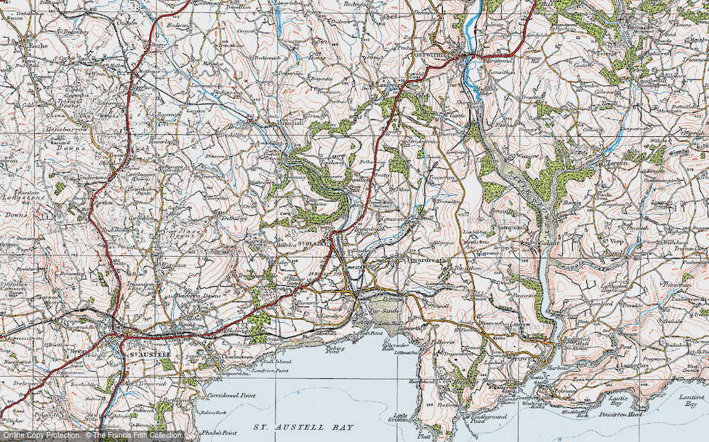 Old Map of Tywardreath Highway, 1919 in 1919